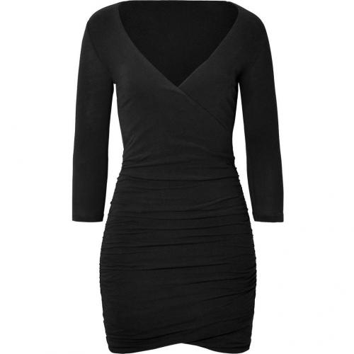 James Perse Black Wrap Fitted Dress