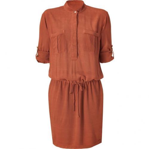 James Perse Rust Half Placket Crepe Utility Dress