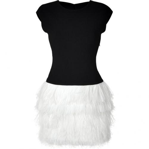 Jay Ahr Black Dress with White Feathered Skirt