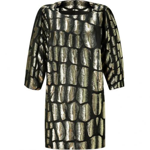 Jay Ahr Gold and Black Brocade Dress
