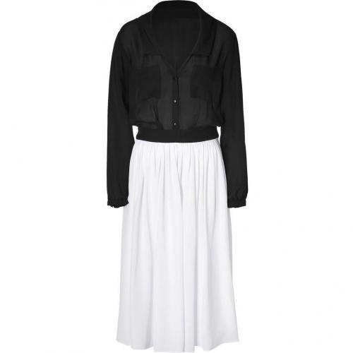 Jay Ahr White and Black Sheer Silk Dress