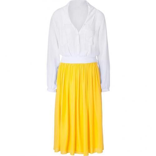 Jay Ahr Yellow and White Sheer Silk Dress