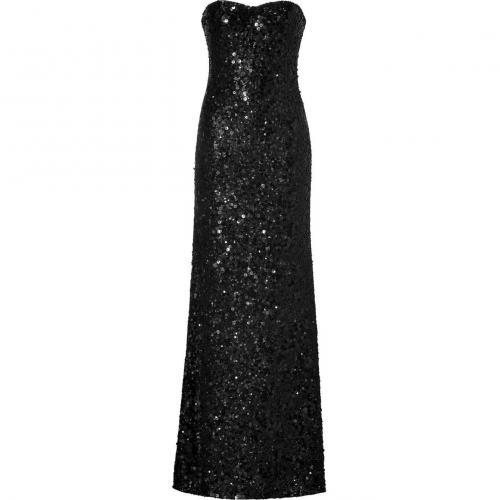 Jenny Packham Black Allover Sequined Strapless Gown