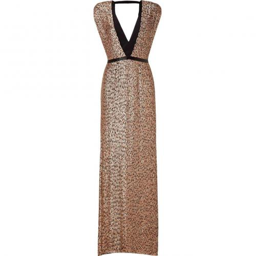 Jenny Packham Black/Blush Sequined Silk Gown