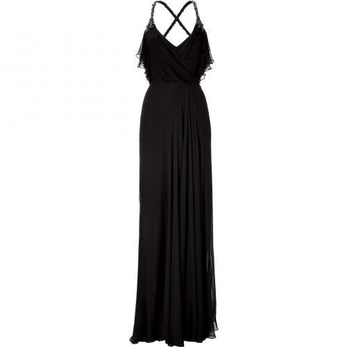 Jenny Packham Black Crystal Embroidered Strap Dress