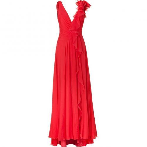 Jenny Packham Geranium Silk Chiffon Gown