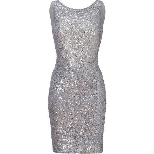 Jenny Packham Light Slate Allover Sequined Dress