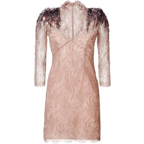Jenny Packham Nude Embellished Shoulder Lace Dress