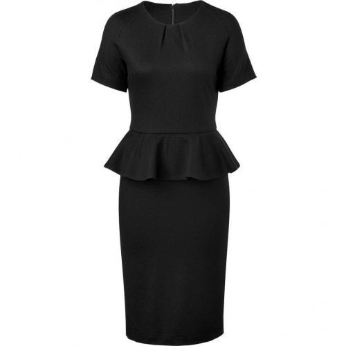 Jil Sander Black Wool Peplum Dress