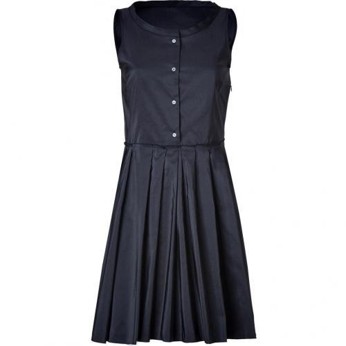 Jil Sander Navy Navy Boat Neck Silk-Blend Dress