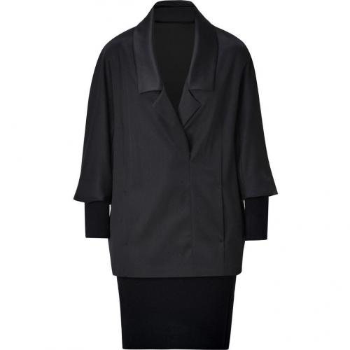 Jil Sander Navy Wool Combo Dress