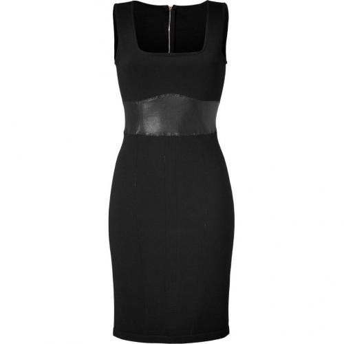 Jitrois Black Knit Dress with Leather Waist