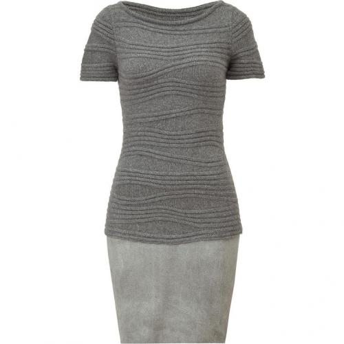 Jitrois Grey Wool and Leather Combo Dress