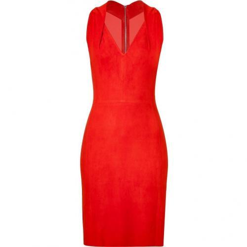 Jitrois Mandarin Red Suede Stretch Dress