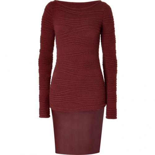 Jitrois Ruby Black Wool and Leather Combo Dress