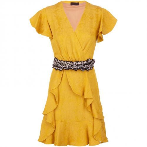 Jo No Fui Cocktailkleid Goldgelb mit floralem Taillenbund