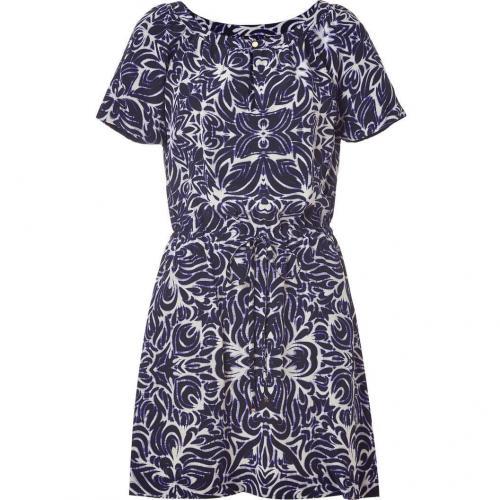 Juicy Couture Indigo Ikat Tile Printed Silk Dress