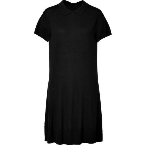 Lacoste Black Buttoned Back Silk-Cotton Knit Polo Dress