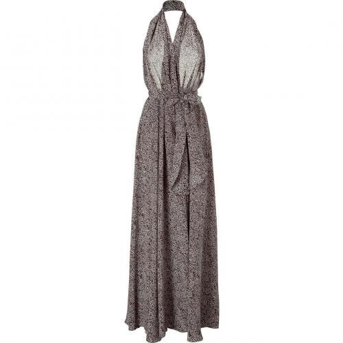 LAgence Black Animal Print Halter Gown Dress