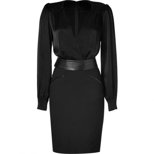 LAgence Black Belted Combo Dress