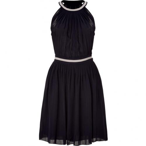 LAgence Black Shirred A Line Pleated Dress