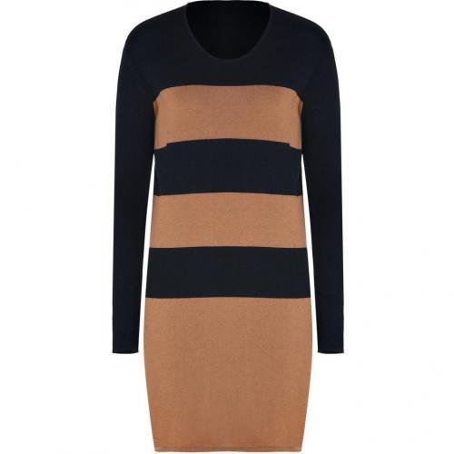 Lala Berlin Black/Cognac Striped Merino Knit Laurel Dress