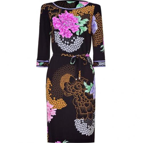 Leonard Black/Peony Chinnoise Printed Silk Dress