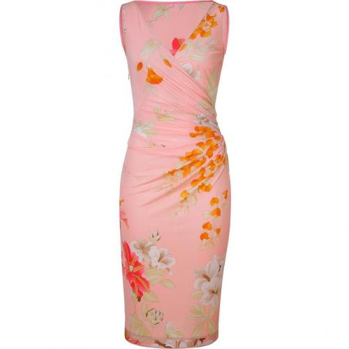 Leonard Tropical Peach Floral Print Dress