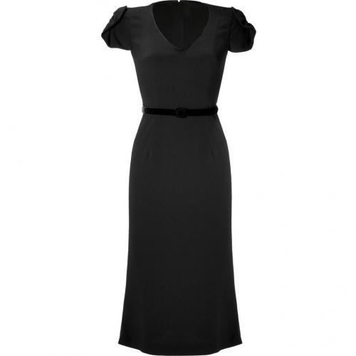 LWren Scott Black Silk-Blend Belted Sheath Dress