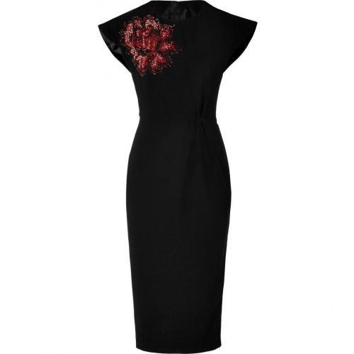 LWren Scott Black Silk-Blend Dress with Sequined Flower