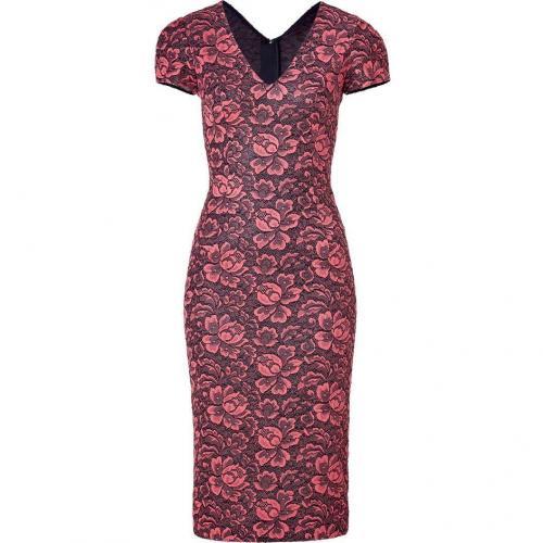LWren Scott Coral/Black Flower Lace Dress