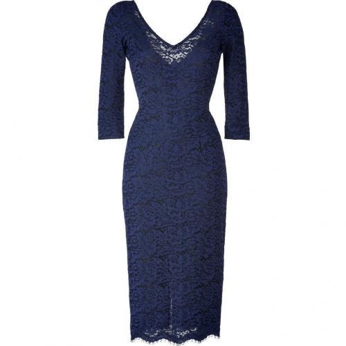LWren Scott Lapis Lazuli Deep V-Neck Lace Dress