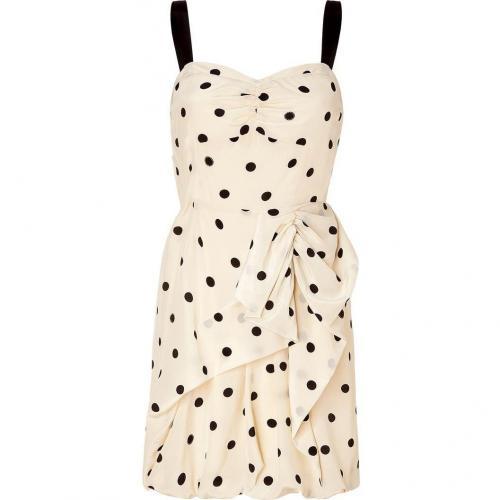 Marc by Marc Jacobs Cream Polka Dot Silk Dress