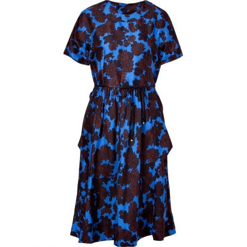 Marc by Marc Jacobs Neptune Blue-Multi Belted Onyx Floral Silk Dress