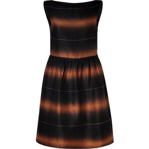 Marc by Marc Jacobs Nutmeg Brown-Multi Striped Cotton-Silk Lida Dress