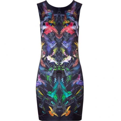 McQ Alexander McQueen Black Humingbird Print Sleeveless Silk Dress