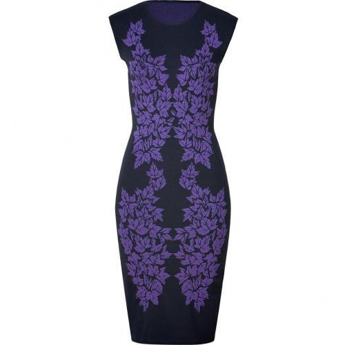 McQ Alexander McQueen Iris/Black Leaf Knit Dress