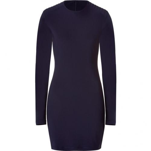 McQ Alexander McQueen Navy Long Sleeve Dress with Elbow Patches