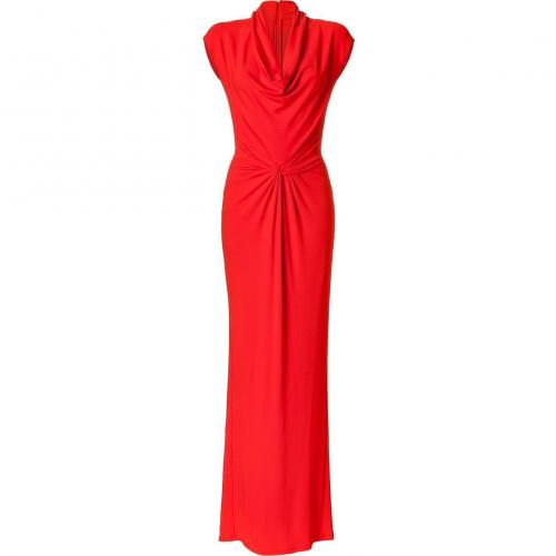 Michael Kors Coral Twisted Front Cowl Neck Gown