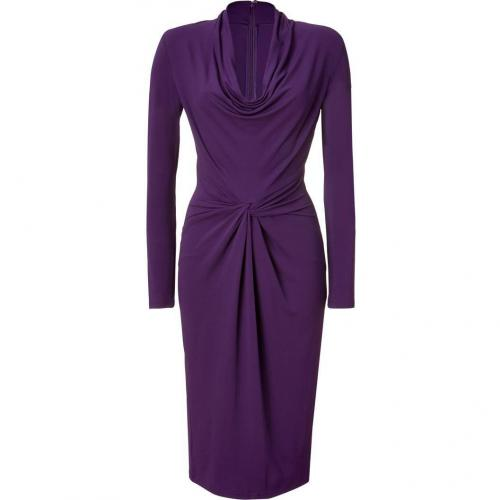Michael Kors Purple Draped Cowl Neck Dress
