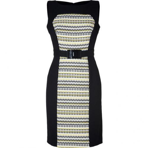Milly Black/Jade Combo Wool Shift Dress