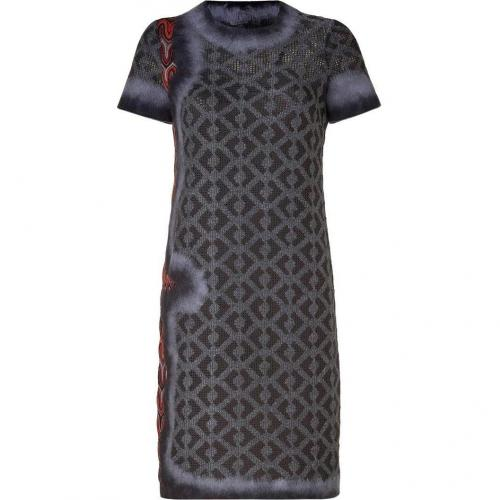 Missoni Asphalt/Rosewood Wool-Blend Variegated Knit Dress
