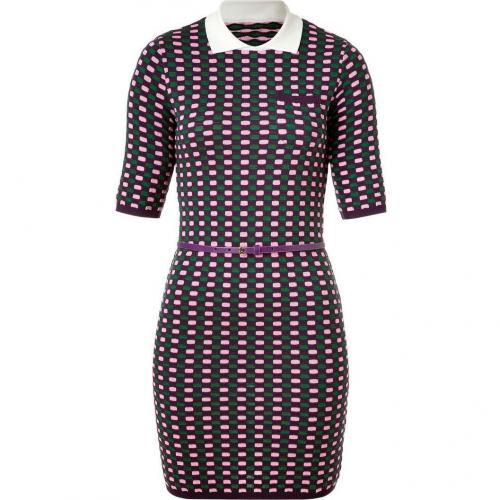 Missoni M Grape/Green/Rose Patterned Knit Belted Dress