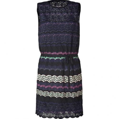Missoni M Night Blue/Black Multicolor Belted Knit-Dress