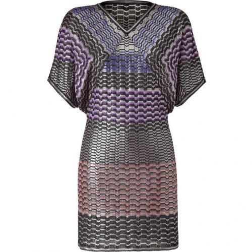 Missoni Silver Metallic Geometric Patterned Dress