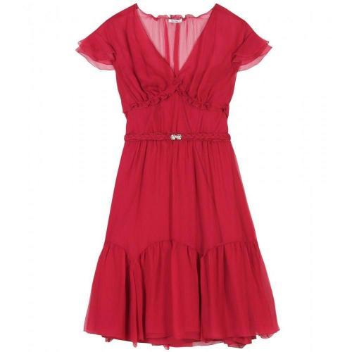 Miu Miu Kleid Aus Seidenkrepp Rot