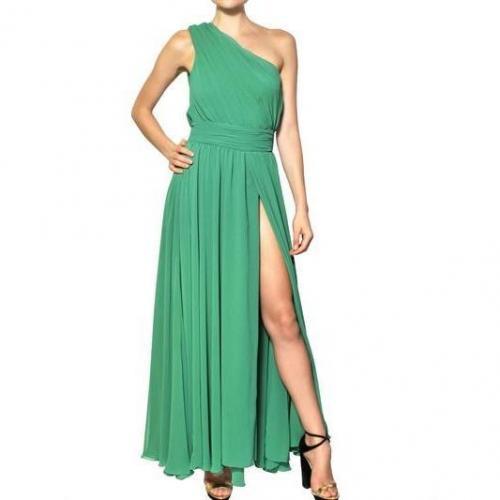 MSGM Eine Schulter Techno Gerorgette Langes Kleid Grün