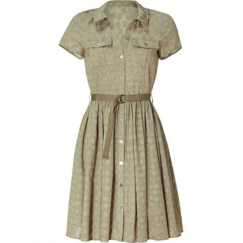 Mulberry Summer Khaki Clover Jacquard Dress