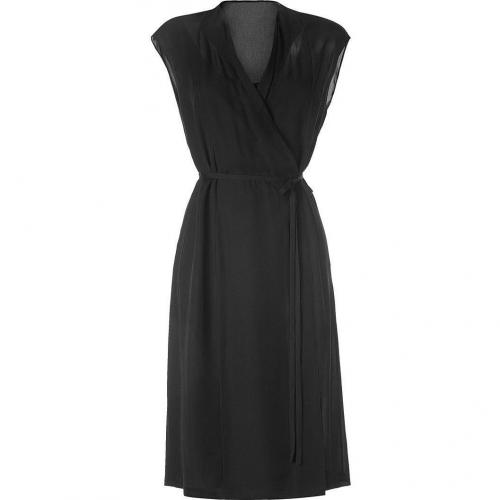Narciso Rodriguez Black Belted Silk Wrap Dress