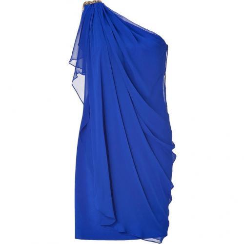 Notte by Marchesa Cobalt Draped One Shoulder Silk Chiffon Dress